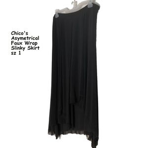 Chico's Slinky Black Skirt Faux Wrap Chiffon Hem